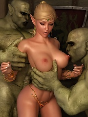 Fantasy Heroine fucked by thin 3D Moster