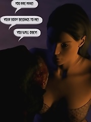 The Vampire touched gently girl's shaved pussy